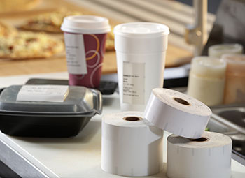 Iconex labels on cups & food packaging