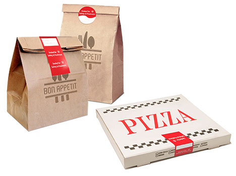 Tampaer Proof Seal Labels on Kraft delivery bags & a pizza box
