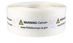 "0.5"" x 1.5"" Prop 65 Cancer Warning Label (4 Rolls) - L-PROP65-2 12774"