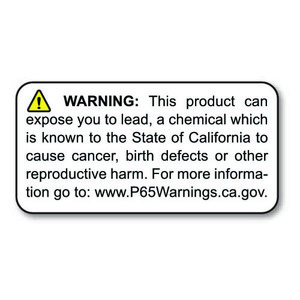 "1"" x 2"" Prop 65 Lead Warning Label (4 Rolls) - L-PROP65-5 12829"