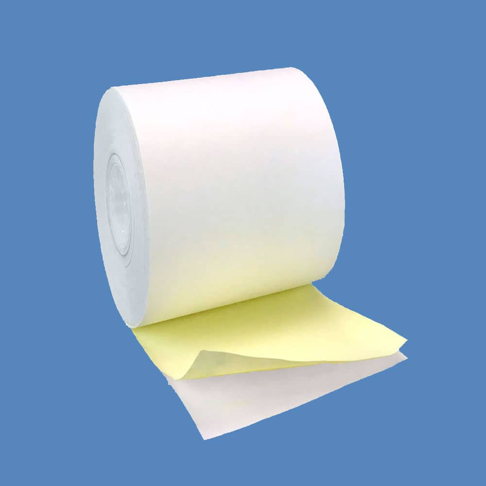 """1 3/4"""" x 95' 2-ply Carbonless Paper Rolls - White/Canary (100 Rolls)"""