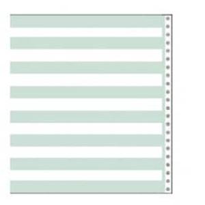 "10 5/8"" x 11"" 15# 1/2"" Green Bar Continuous Computer Paper (3500 sheets) - CP-9801"