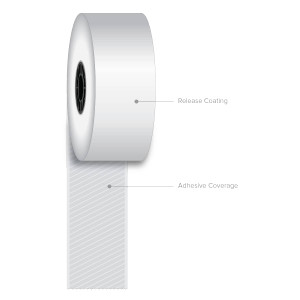 "1 1/2"" x 270' Iconex Full-Tack Sticky Media Linerless Labels (30 Rolls) - ICON-9023-1708"