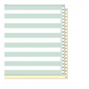 "14 7/8"" x 11"" 15# 1/2"" Green Bar 2-Part Carbon Interleaf Continuous Computer Paper (1500 sheets) - CP-8114"