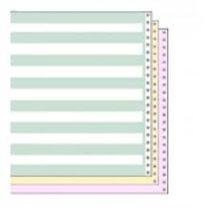 "14 7/8"" x 11"" 15# 1/2"" Green Bar 3-Part Carbon Interleaf Continuous Computer Paper (1100 sheets) - CP-9115"