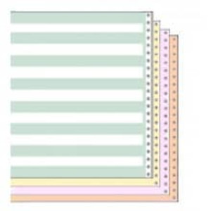 "14 7/8"" x 11"" 15# 1/2"" Green Bar 4-Part Carbon Interleaf Continuous Computer Paper (750 sheets) - CP-9118"