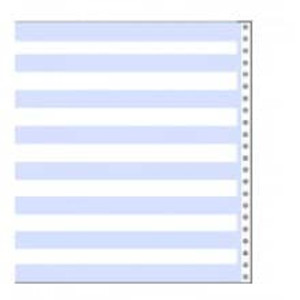 "14 7/8"" x 11"" 20# 1/2"" Blue Bar Continuous Computer Paper (2700 sheets) - CP-9153"