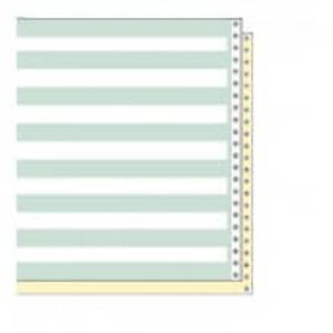 "14 7/8"" x 8 1/2"" 15# 1/2"" Green Bar 2-Part Carbon Interleaf Computer Paper (1500 sheets) - CP-9304"