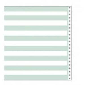 "14 7/8"" x 8 1/2"" 15# 1/2"" Green Bar Continuous Computer Paper (3500 sheets) - CP-9301"