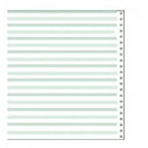 "14 7/8"" x 8 1/2"" 15# 1/8"" Green Bar Continuous Computer Paper (3500 sheets) - CP-9311"