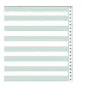 "14 7/8"" x 8 1/2"" 20# 1/2"" Green Bar Continuous Computer Paper (2700 sheets) - CP-9303"