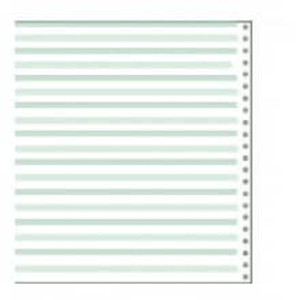 "14 7/8"" x 8 1/2"" 20# 1/8"" Green Bar Continuous Computer Paper (2700 sheets) - CP-291"