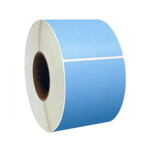 "1.5"" x 1"" Blue Direct Thermal Labels, 1"" Core, 1,375 Labels/Roll (12 Rolls) - L-RDT4-150100-1P FC/B"