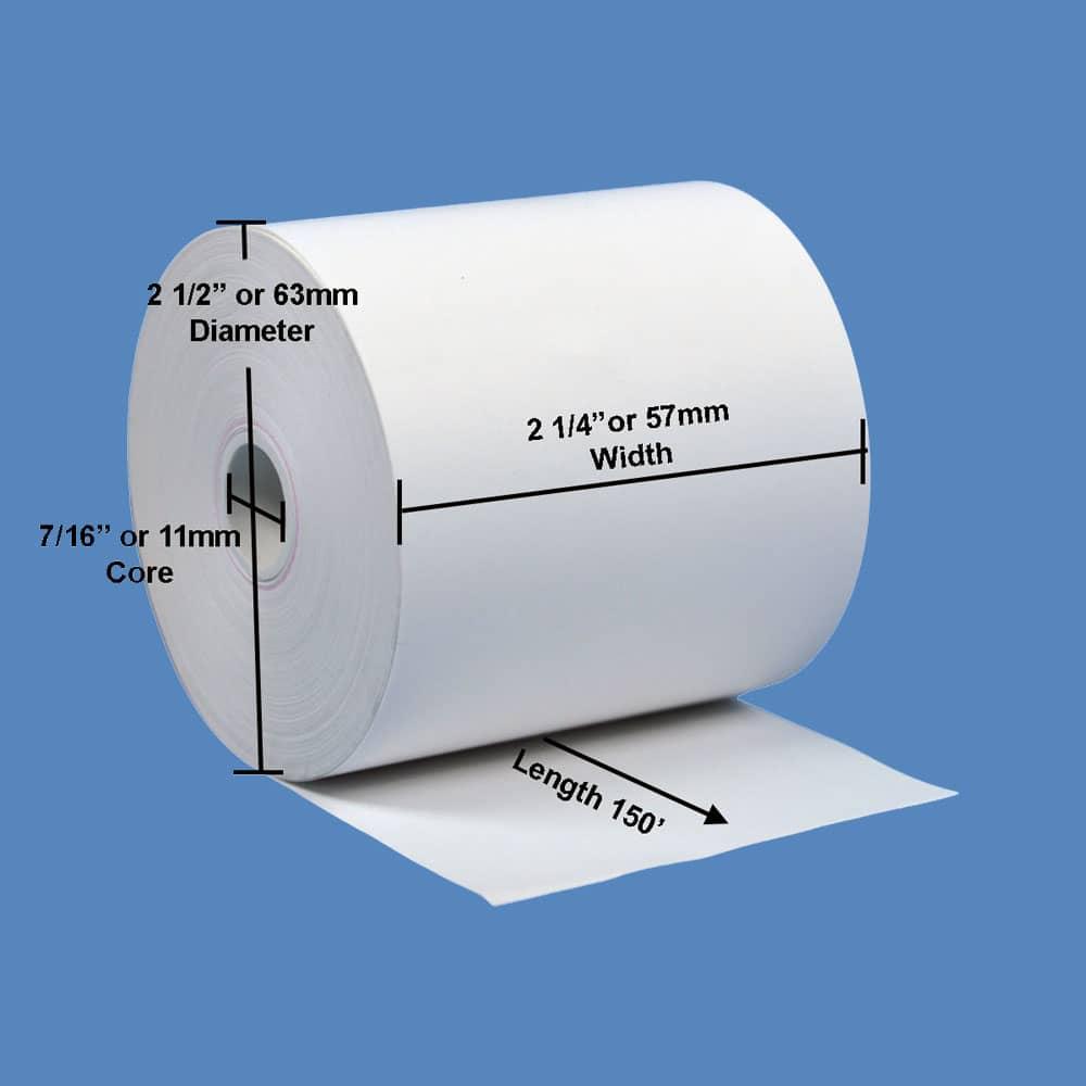"""2 1/4"""" x 150' BPA-Free Thermal Receipt Paper Rolls (10 Rolls)"""