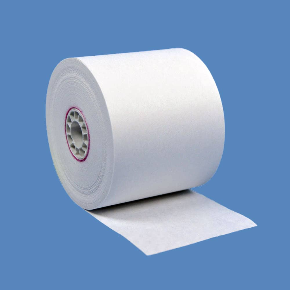 "2 1/4"" x 150' White 1-Ply Bond Paper Rolls (50 Rolls)"