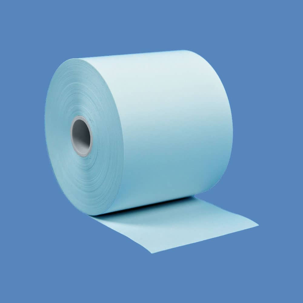 """2 1/4"""" x 230' Blue BPA-Free Thermal Receipt Paper Rolls (50 Rolls)"""