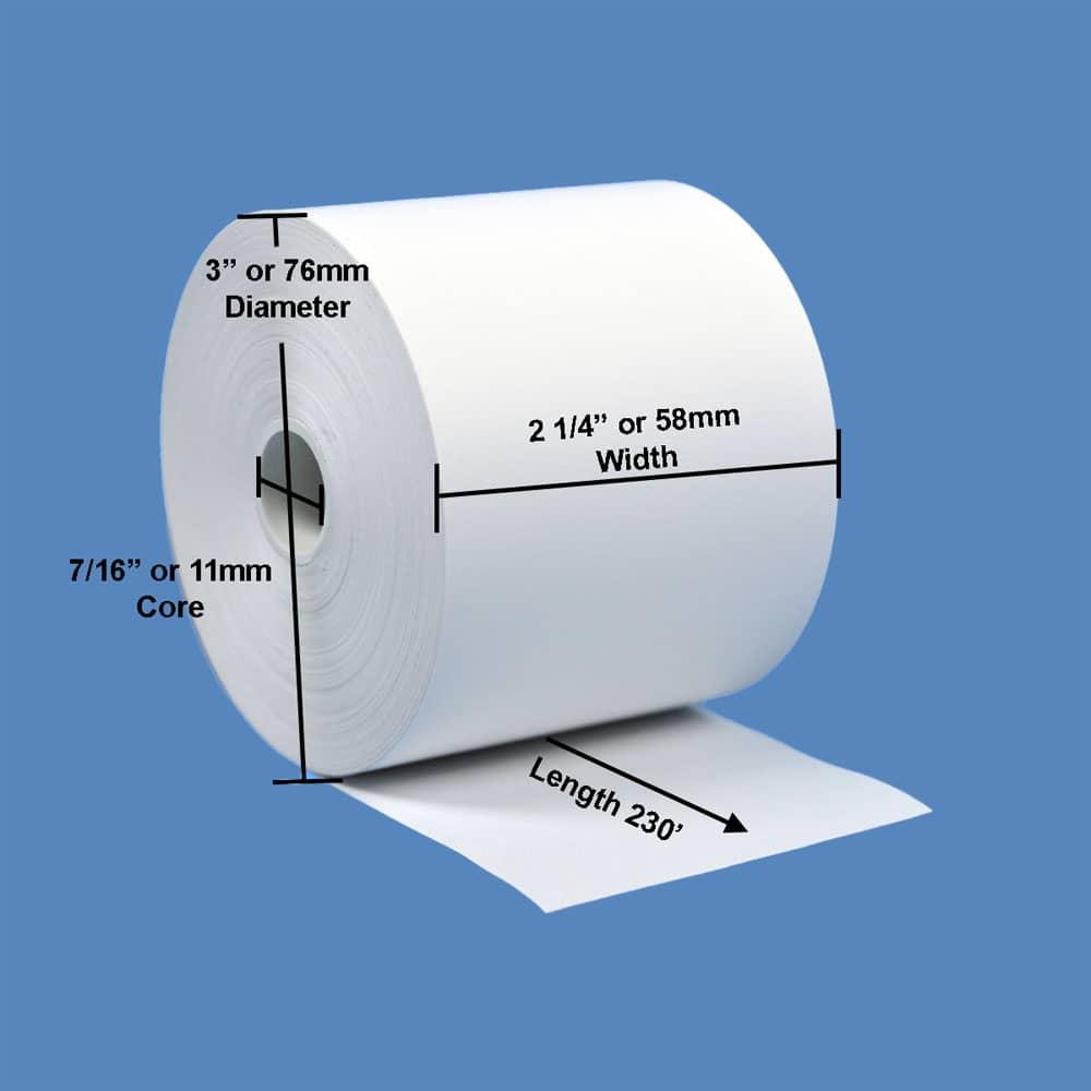 """2 1/4"""" x 230' BPA-Free Thermal Receipt Paper Rolls (10 Rolls)"""