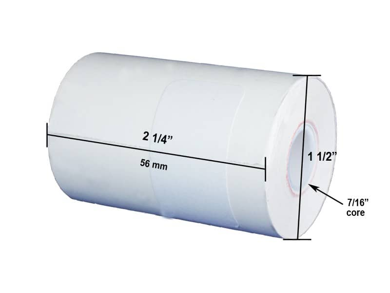 "2 1/4"" x 55' Thermal Roll Paper, 1/2"" ID, 3/4"" OD core, 50 rolls/case - T214-055"