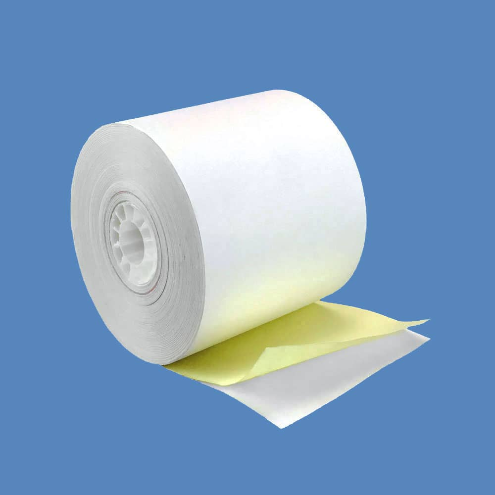 "2 1/4"" x 72' 2-ply Carbonless Paper Rolls - White/Canary (50 Rolls)"