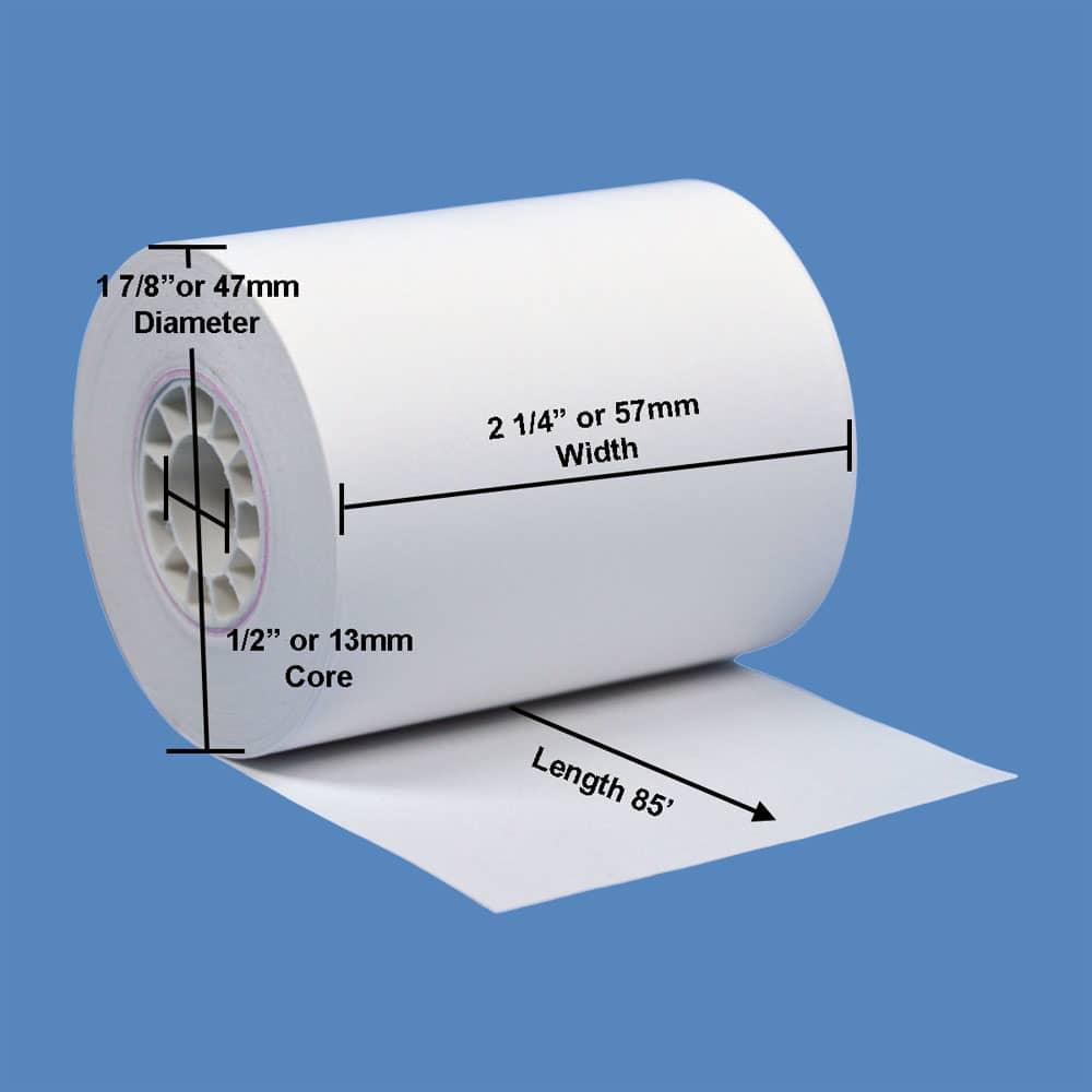 """2 1/4"""" x 85' Phenol-Free (BPA & BPS) Thermal Receipt Paper Rolls (50 Rolls)"""