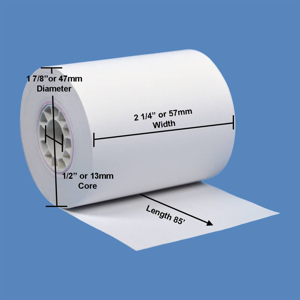 """2 1/4"""" x 85' Thermal Roll Paper, 50 rolls/case - T214-085"""