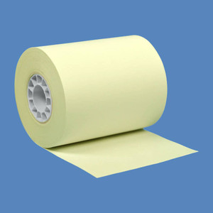 "2 1/4"" x 85' Yellow BPA-Free Thermal Receipt Paper Rolls (50 Rolls) - T214-085-Y"
