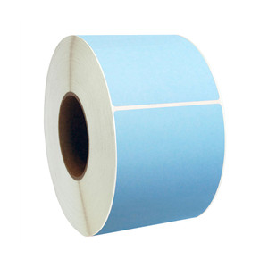 "2"" x 1"" Blue Thermal Transfer Labels, 3"" Core, 5,500 Labels/Roll (8 Rolls) - L-CTT200100-3P FC/B"