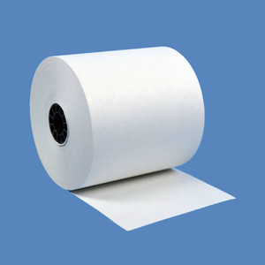 "2 3/4"" x 165' Bright White 1-Ply Bond Paper Rolls (50 Rolls) - B234-165-BW"