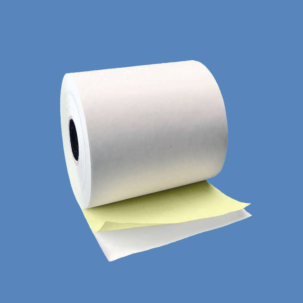 "2 3/4"" x 90' 2-ply Carbonless Paper Rolls - White/Canary (50 Rolls)"