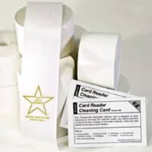"2 5/16"" x 185' Gold Star Thermal Receipt Paper Rolls + Bonus Cleaning Card (24 Rolls) - GS-2516XHIGS"