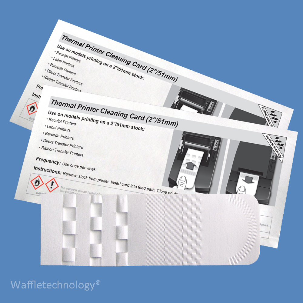 """2"""" Thermal Printer Cleaning Card with Waffletechnology KW3-T26B15 (15 Cards)"""