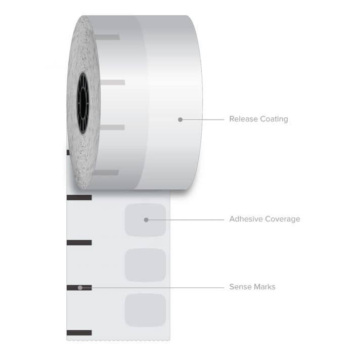 "2 1/4"" x 270' Iconex Standard Sticky Media Linerless Labels (12 Rolls)"