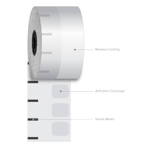 "2 1/4"" x 350' Iconex High-Tack G2 Sticky Media Linerless Labels (12 Rolls) - ICON-9023-2634"