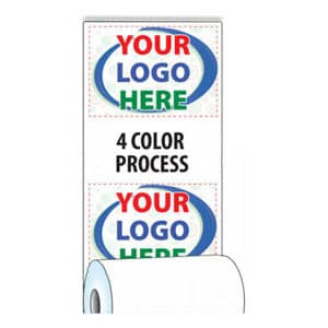 """2 1/4"""" x 670' Custom Printed Thermal ATM Roll Paper - 8 Rolls/Case, 10 Case Min (4-Color Process) - ZP-A214-670-4C"""