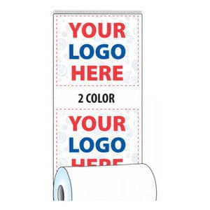 "2 1/4"" x 85' Custom Printed Thermal Receipt Paper - 50 Rolls/Case, 10 Case Min (2-Colors) - ZP-T214-085-2C"
