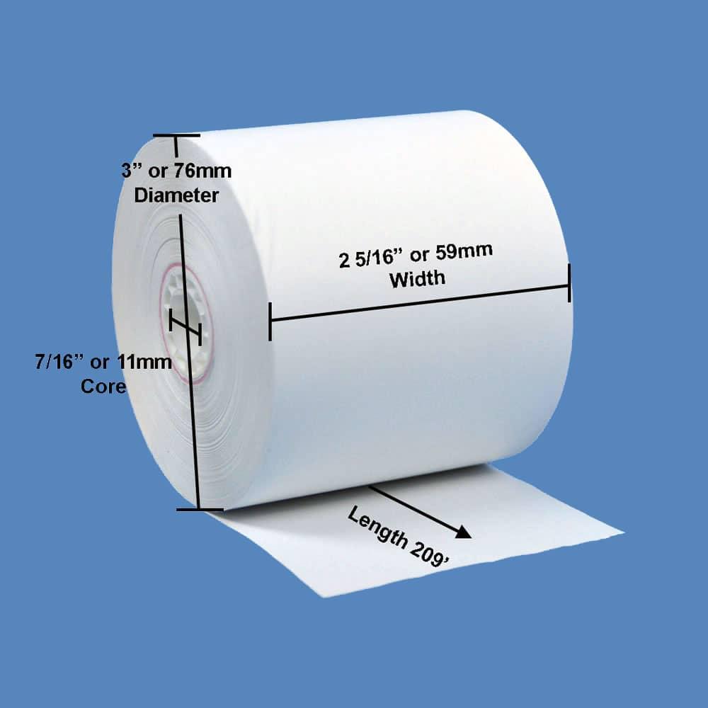 "2 5/16"" x 209' Gilbarco Thermal Gas Pump Paper Rolls (24 Rolls)"