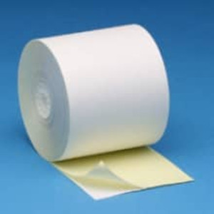"3 1/4"" x 80' Self Contained Ribbonless 2-Ply Paper Rolls - White/Canary (60 Rolls) - S314-080"