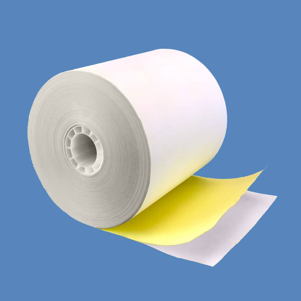 "3 1/4"" x 85' 2-ply Carbonless Paper Rolls - White/Canary (50 Rolls)"