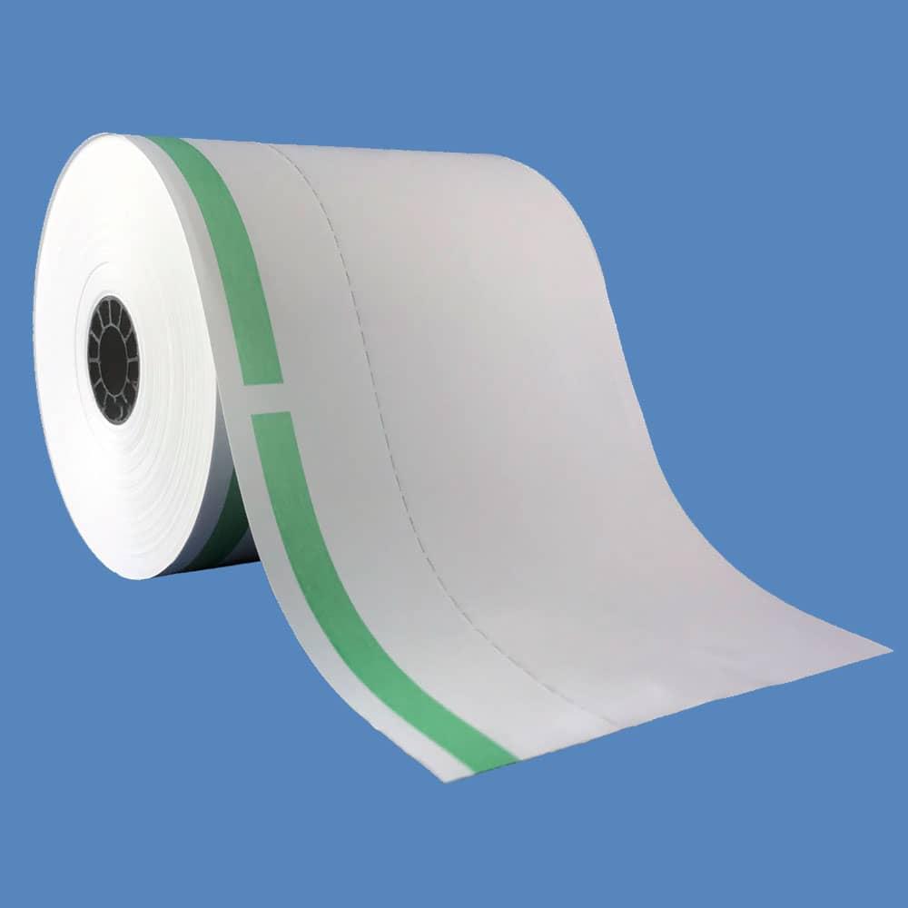 "3 1/8"" x 160' Green-Stripe Heavyweight Thermal Ticket Rolls, Vertical Perforation (50 Rolls)"