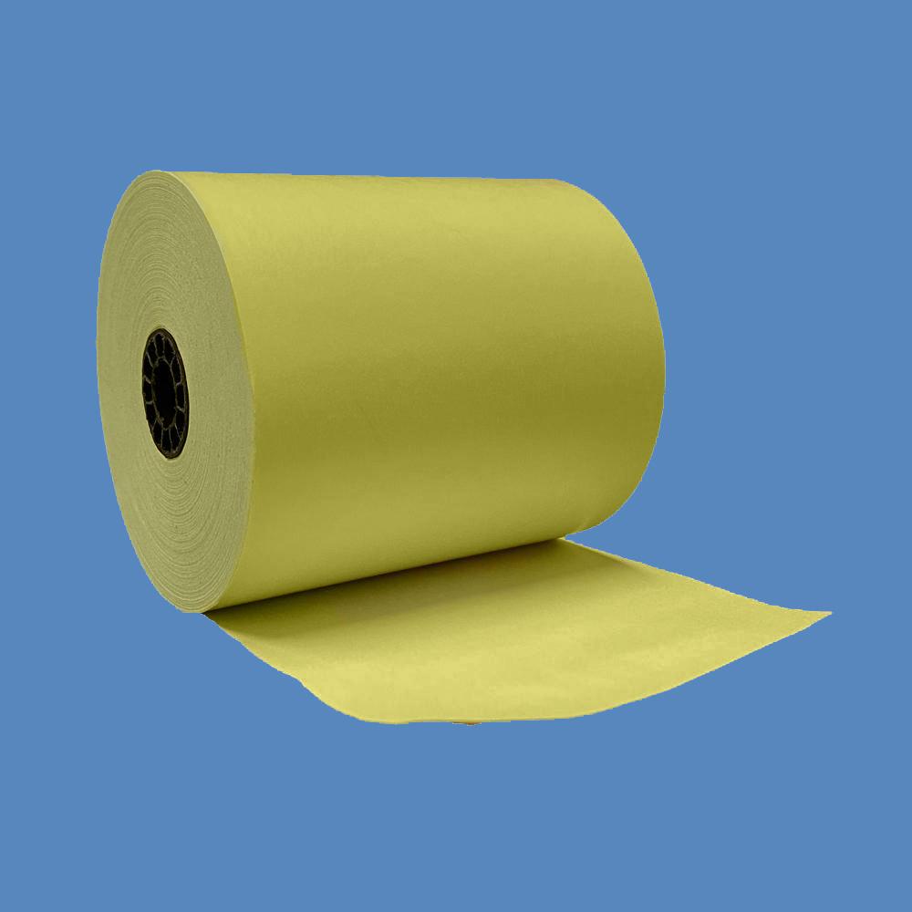 """3 1/8"""" x 230' Yellow BPA-Free Thermal Receipt Paper Rolls (50 Rolls)"""