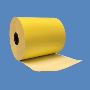 "3 1/8"" x 230' Yellow BPA-Free Thermal Receipt Paper Rolls (50 Rolls) - T318-230-Y"