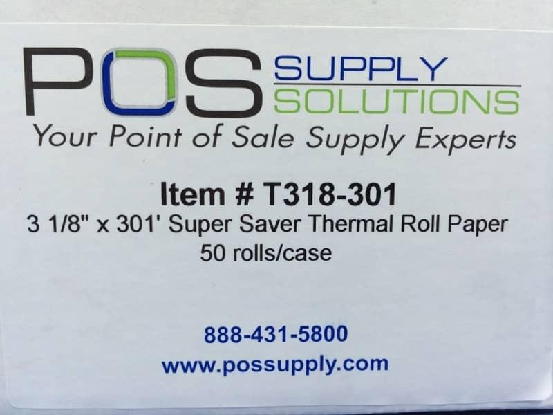 """3 1/8"""" x 301' BPA-Free Super-Saver Thermal Receipt Paper Rolls (50 Rolls)"""