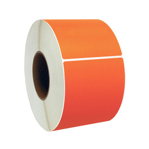 "3"" x 1"" Orange Thermal Transfer Labels, 3"" Core, 5,500 Labels/Roll (8 Rolls) - L-CTT300100-3P FC/O"