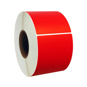 "3"" x 1"" Red Thermal Transfer Labels, 3"" Core, 5,500 Labels/Roll (8 Rolls) - L-CTT300100-3P FC/R"