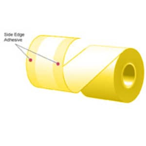"3.125"" x 160' MAXStick Colors, Canary 15# Side Edge Adhesive Thermal Roll, 24 rolls/case - MS3181602GOSEC-24"
