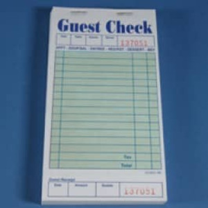 "3.3"" x 6.7"" Single Copy Green Guest Checks (2500 checks) - GC-TGGCT"