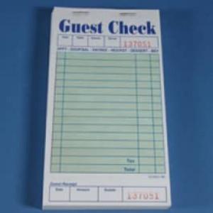 """3.3"""" x 6.7"""" Single Copy Green Guest Checks (2500 checks) - GC-TGGCT"""