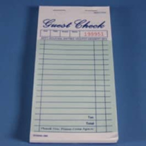 "3.3"" x 6.7"" Two Copy Green Carbon Interleaf Guest Checks (2500 checks) - GC-TGGC2CI"