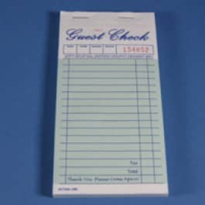 "3.3"" X 6.7"" Two Copy Green Carbonless Guest Check, 2,500 checks/case - GC-TGGC2"