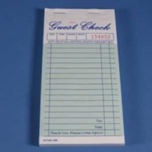 """3.3"""" x 6.7"""" Two Copy Green Carbonless Guest Checks (2500 checks) - GC-TGGC2"""